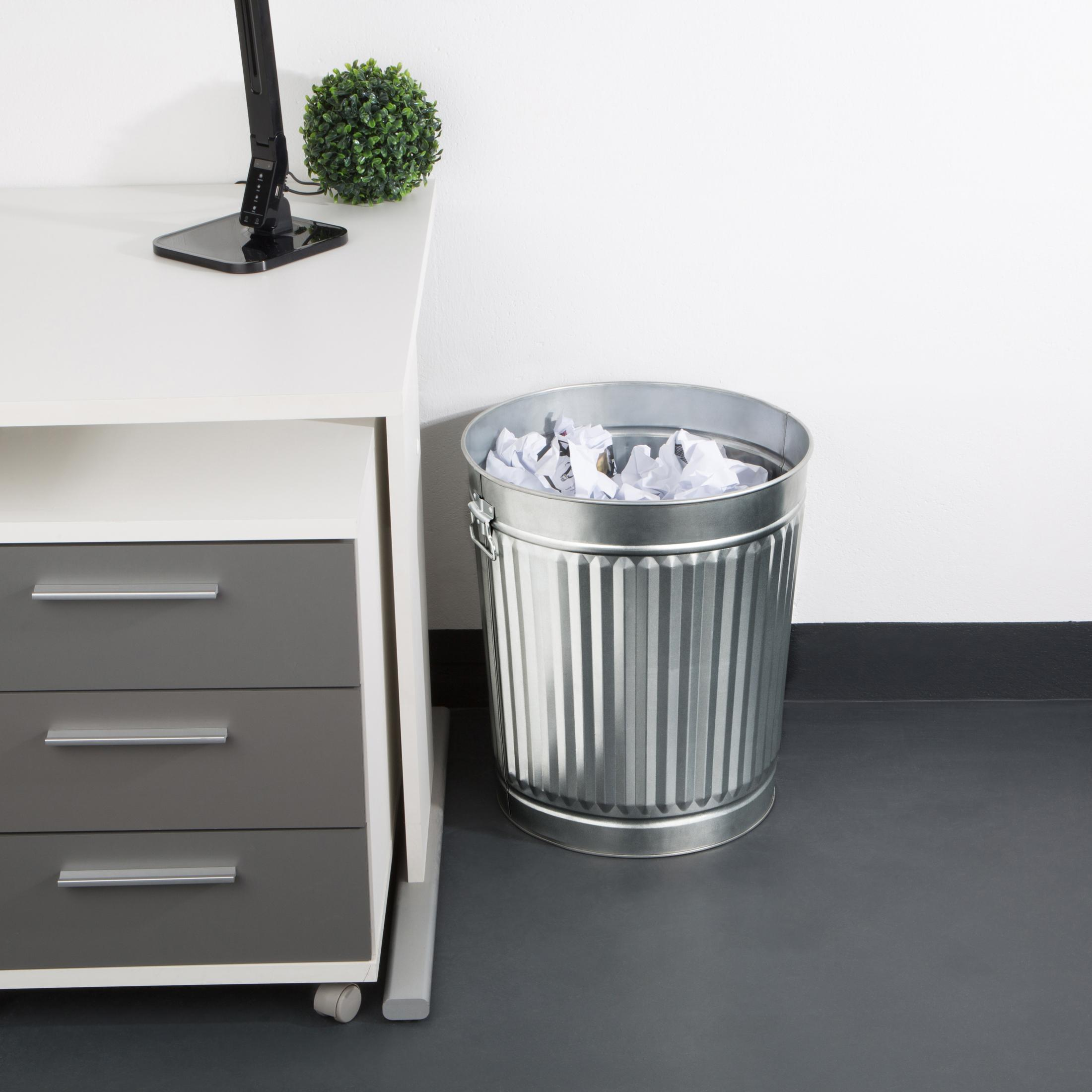 levivo m lltonne asche eimer aus verzinktem stahlblech mit deckel ca 48 cm k che. Black Bedroom Furniture Sets. Home Design Ideas