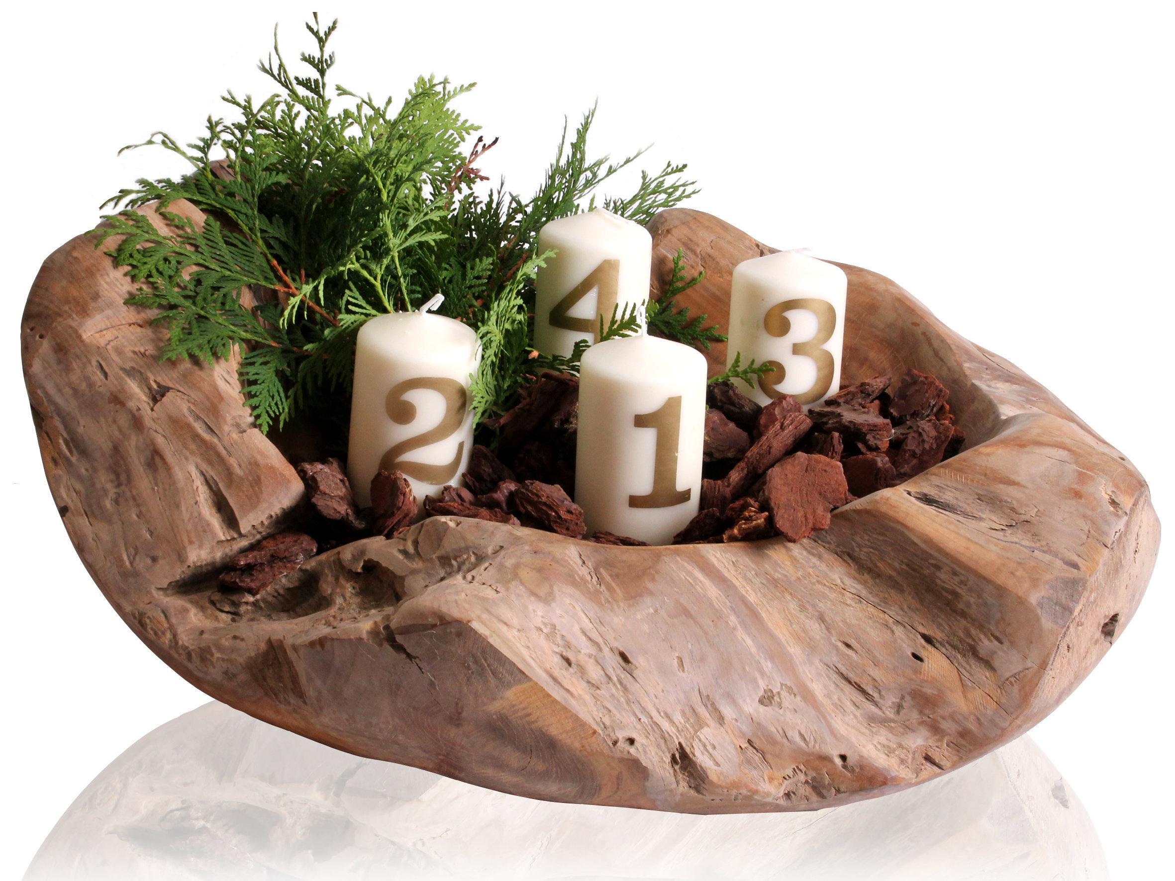 Ambientehome teakholz schale dekoschale dino natur ca for Holzschale dekorieren