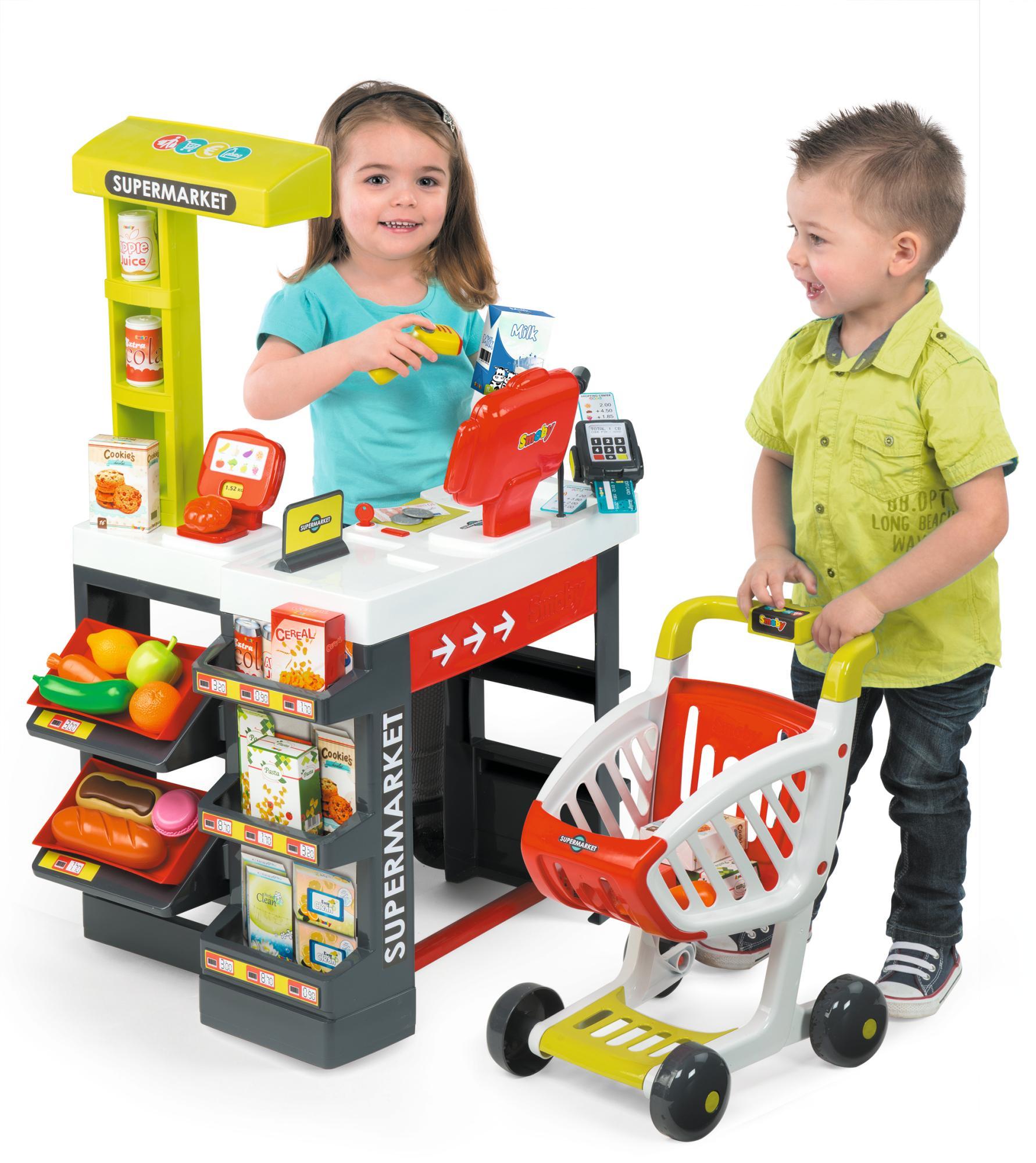 smoby 350210 supermarkt mit einkaufswagen verschiedene spielwaren spielzeug. Black Bedroom Furniture Sets. Home Design Ideas