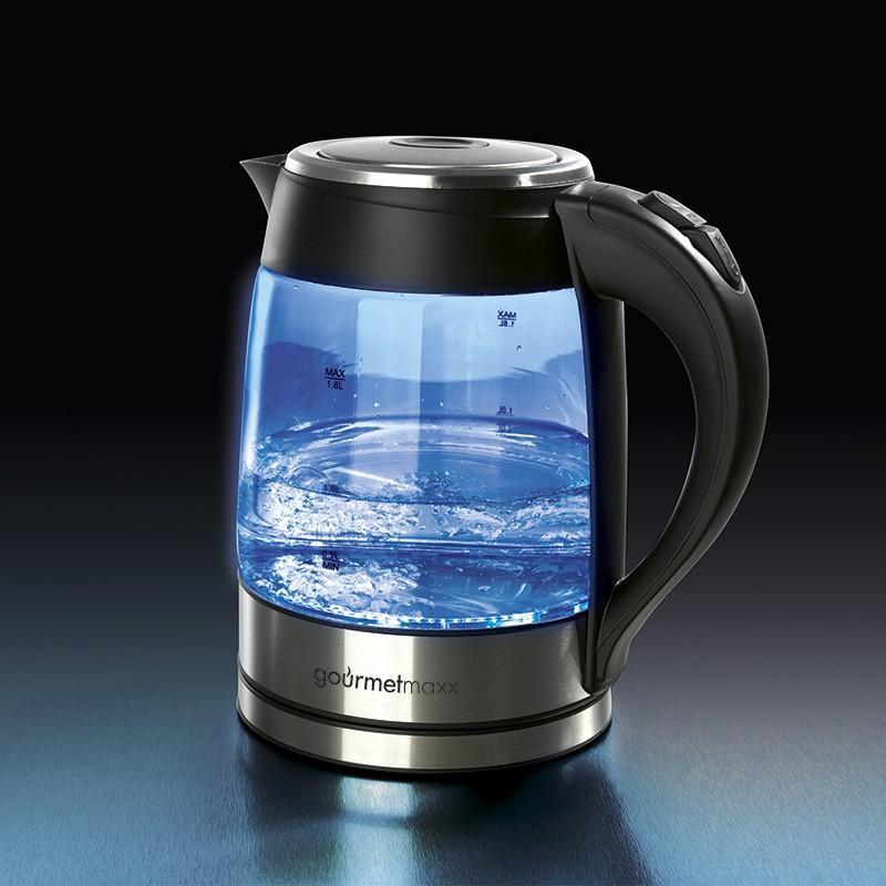 tzs first austria 2200 watt glas edelstahl wasserkocher 1 7 liter blaue led innen beleuchtung. Black Bedroom Furniture Sets. Home Design Ideas