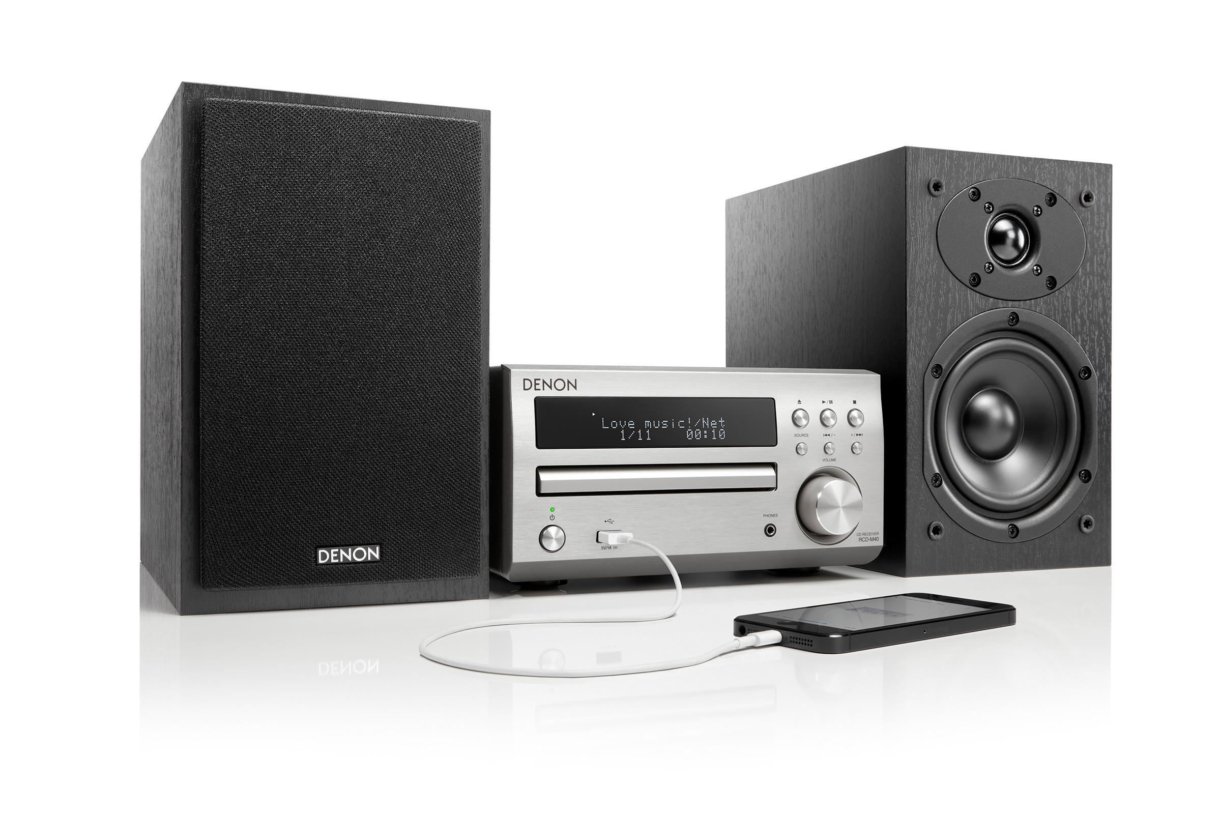 Denon D-M40SPSWE2 Kompaktanlage (CD, UKW-Tuner, 2X 30 Watt, USB ...