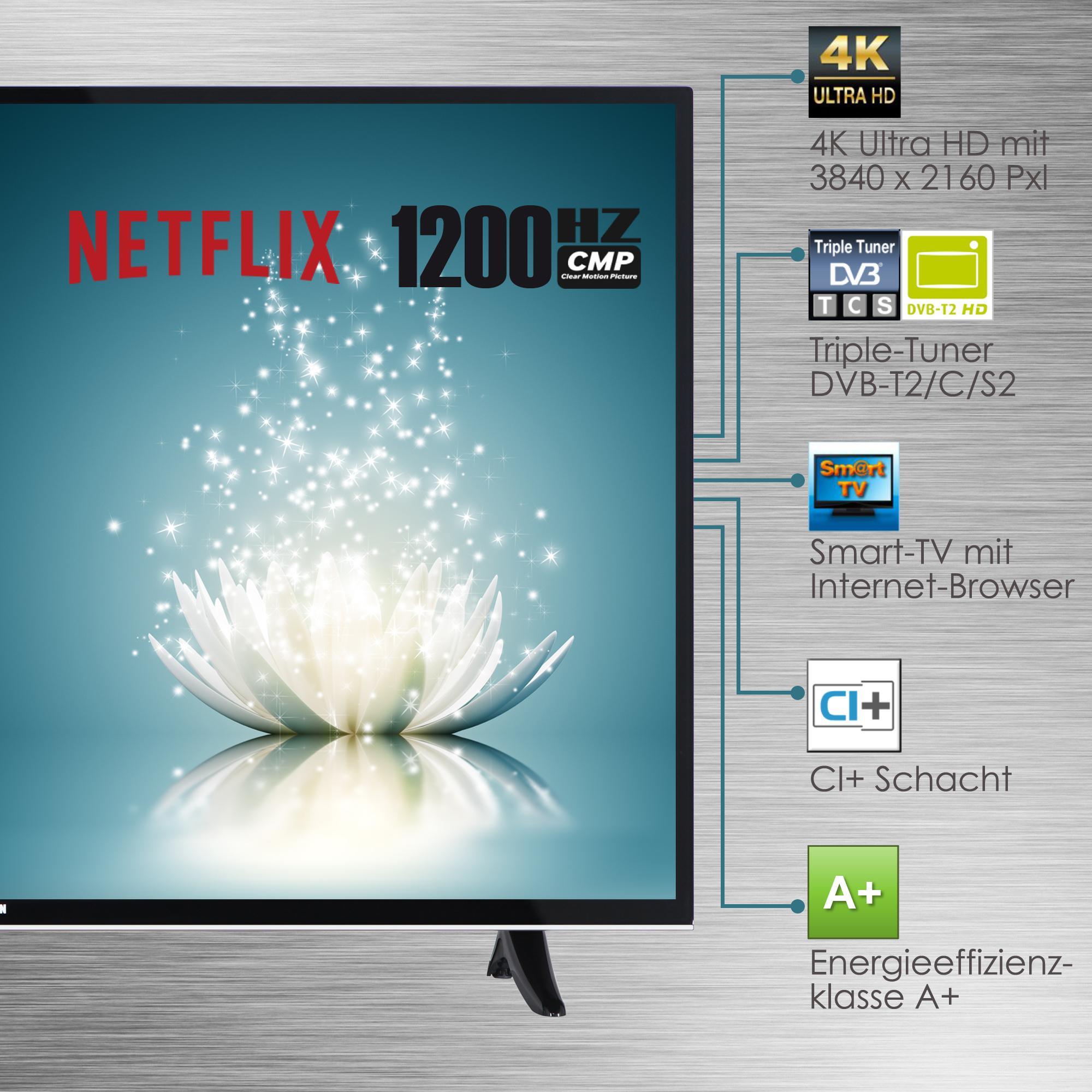 telefunken xu43a401 110 cm 43 zoll fernseher 4k ultra hd triple tuner smart tv. Black Bedroom Furniture Sets. Home Design Ideas
