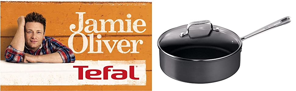 tefal e86532 jamie oliver hard anodised pfannen 24 cm induktionseignung k che. Black Bedroom Furniture Sets. Home Design Ideas