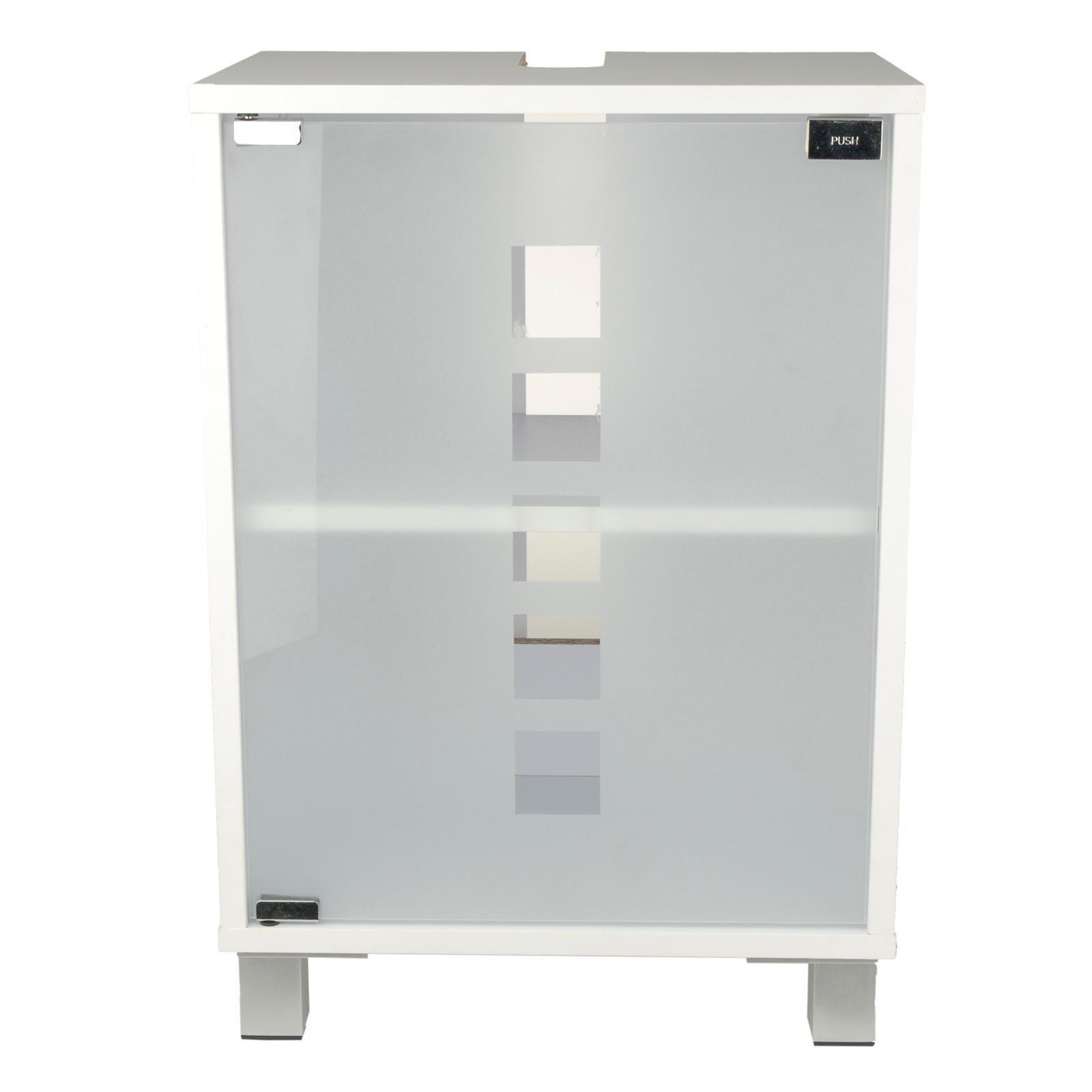 Waschtischunterschrank holz weiß  Waschtischunterschrank mit Glastür Holz weiß 30 x 40 x 56 cm ...