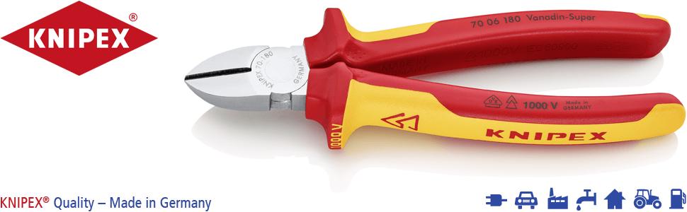 Knipex 70 06 180 Seitenschneider, präzises Schneiden bis Ø 4,0 mm, Länge 180 mm, isoliert und VDE-ge