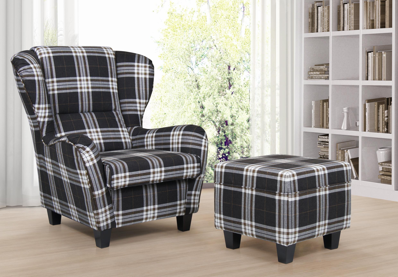 b famous ohrensessel mit hocker chris strukturstoff 92 x. Black Bedroom Furniture Sets. Home Design Ideas