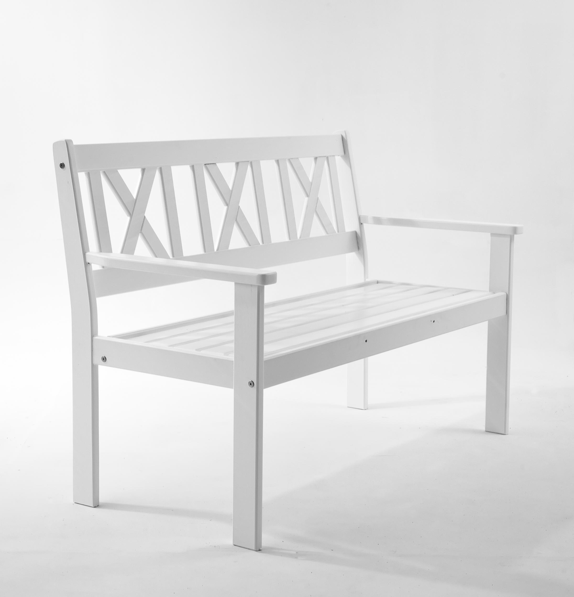 ambientehome gartenbank 2 sitzer bank massivholz holzbank evje wei. Black Bedroom Furniture Sets. Home Design Ideas