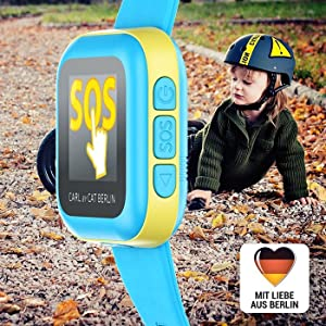 Smartwatch Kinderuhr Smartphone CAT Berlin CARL Kind Fahrrad Laub