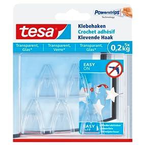 4 Strips tesa Powerstrips Klebehaken für Glas transparent 2 Haken