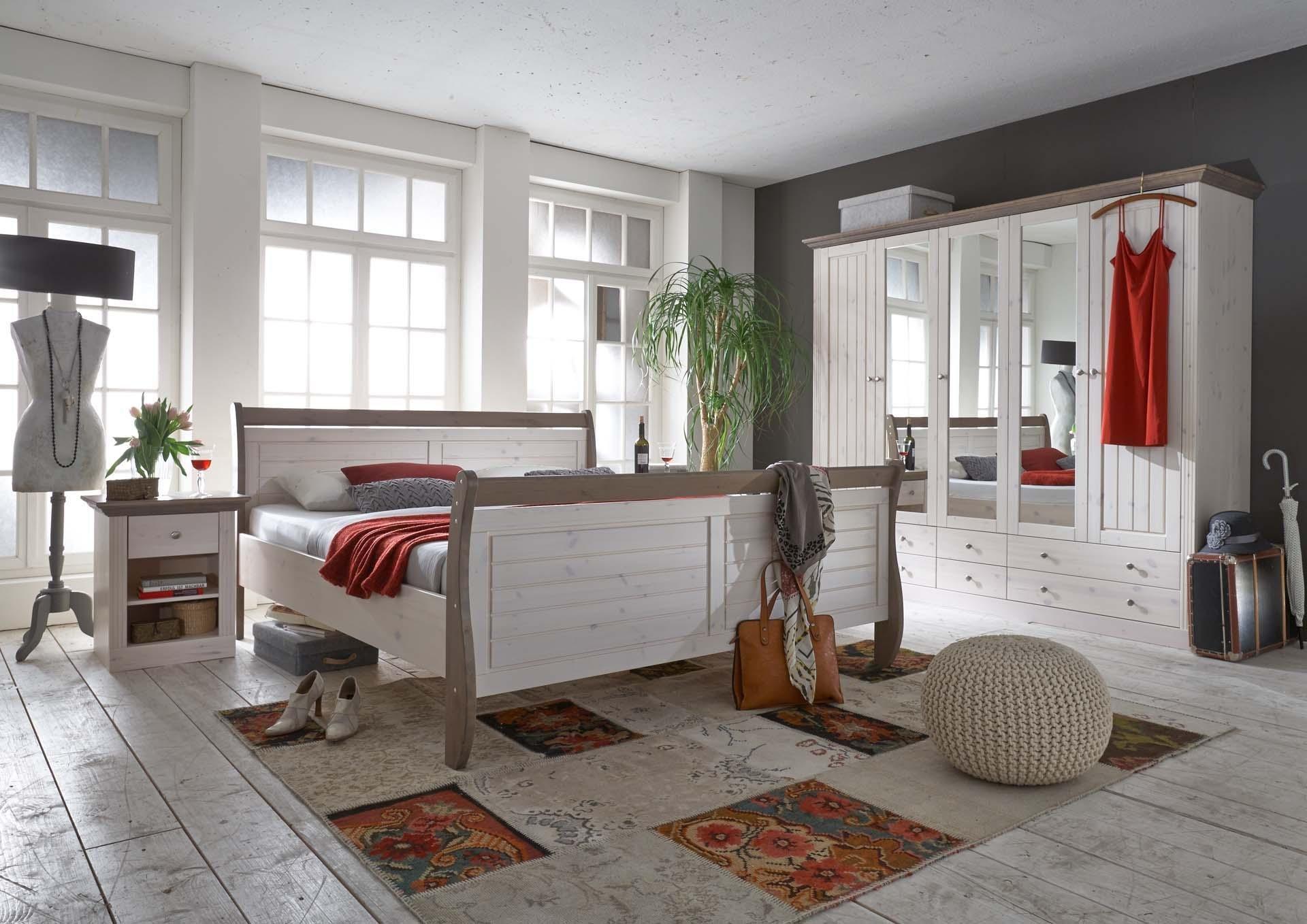 steens monaco schlafzimmer kiefer massiv 3 teiliges set bett 180x200 cm kleiderschrank und. Black Bedroom Furniture Sets. Home Design Ideas