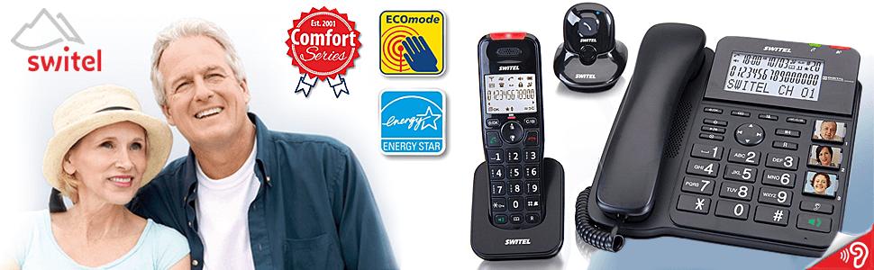 Switel DCT64072 Crystal Kombi-Set aus DECT-Telefon, Schnurtelefon, Anrufbeantworter, Alarmanhänger