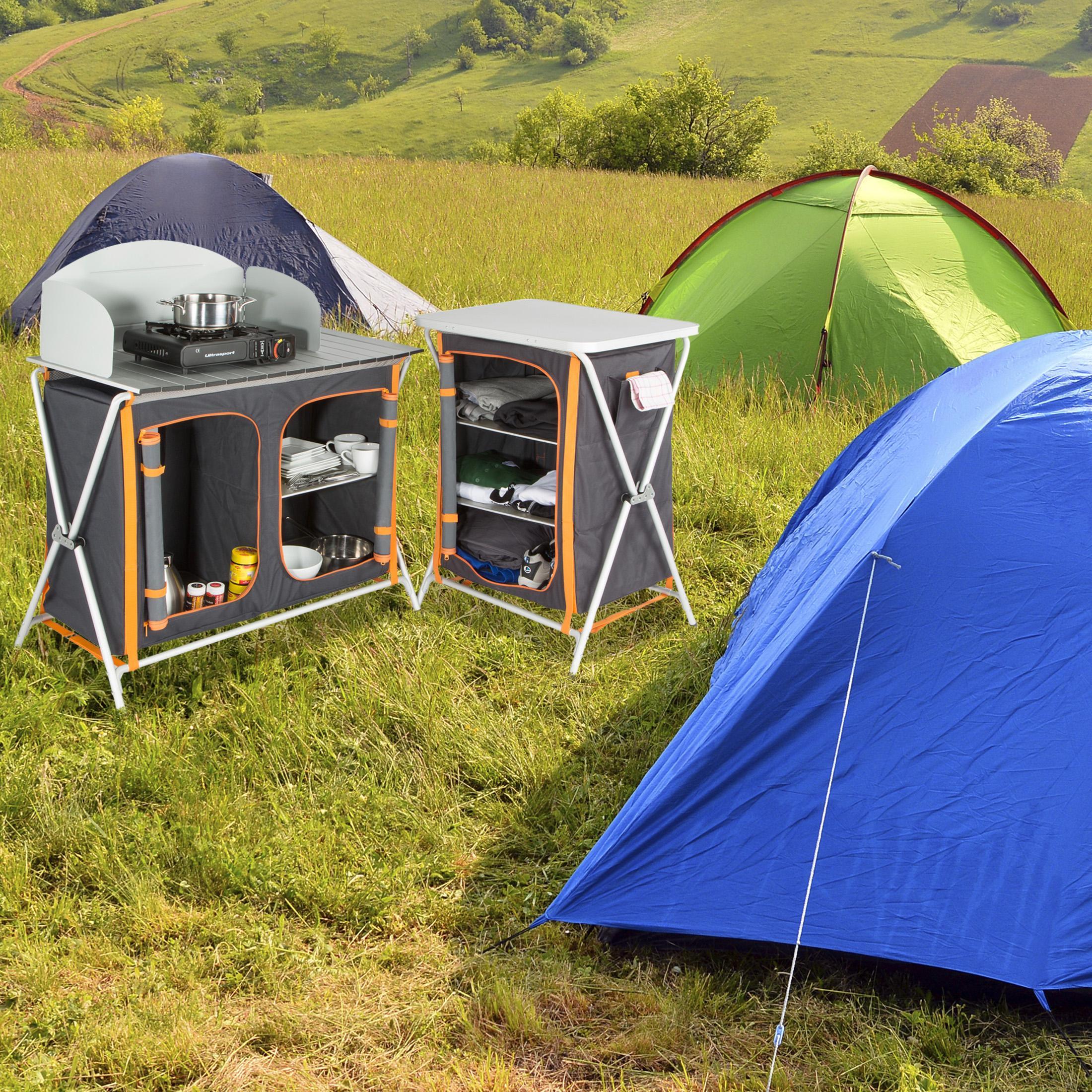 ultrasport campingk che faltschrank 3 f cher arbeitsfl che inkl windschutz. Black Bedroom Furniture Sets. Home Design Ideas