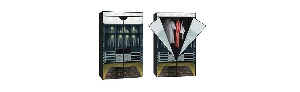 stoffschrank kleiderschrank motiv ankleidezimmer 1 stange k che haushalt. Black Bedroom Furniture Sets. Home Design Ideas