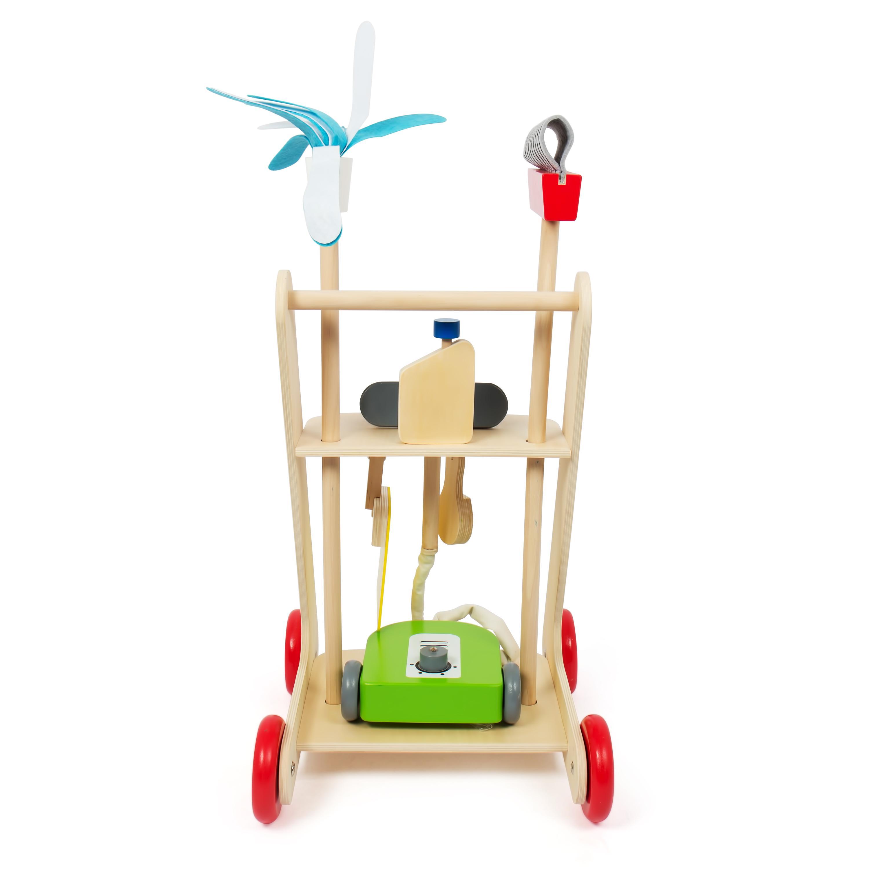 kledio kinder reinigungswagen putzwagen aus holz 100 fsc 6 teilig spielzeug. Black Bedroom Furniture Sets. Home Design Ideas
