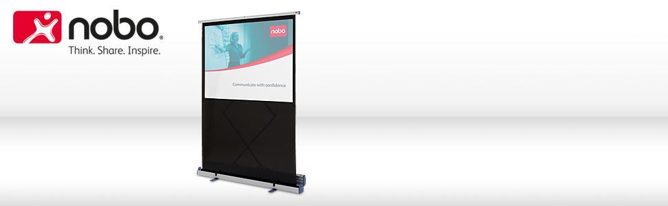 nobo leinwand mobil f r heimkino gaming streaming mit integriertem st nder 4 3 bildseitenformat. Black Bedroom Furniture Sets. Home Design Ideas