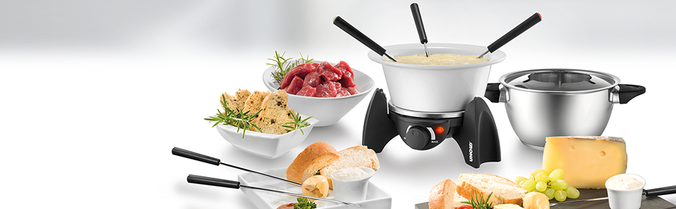 unold fondue set wechseltopf edelstahl keramik zubeh r f r 6 personen 48645. Black Bedroom Furniture Sets. Home Design Ideas