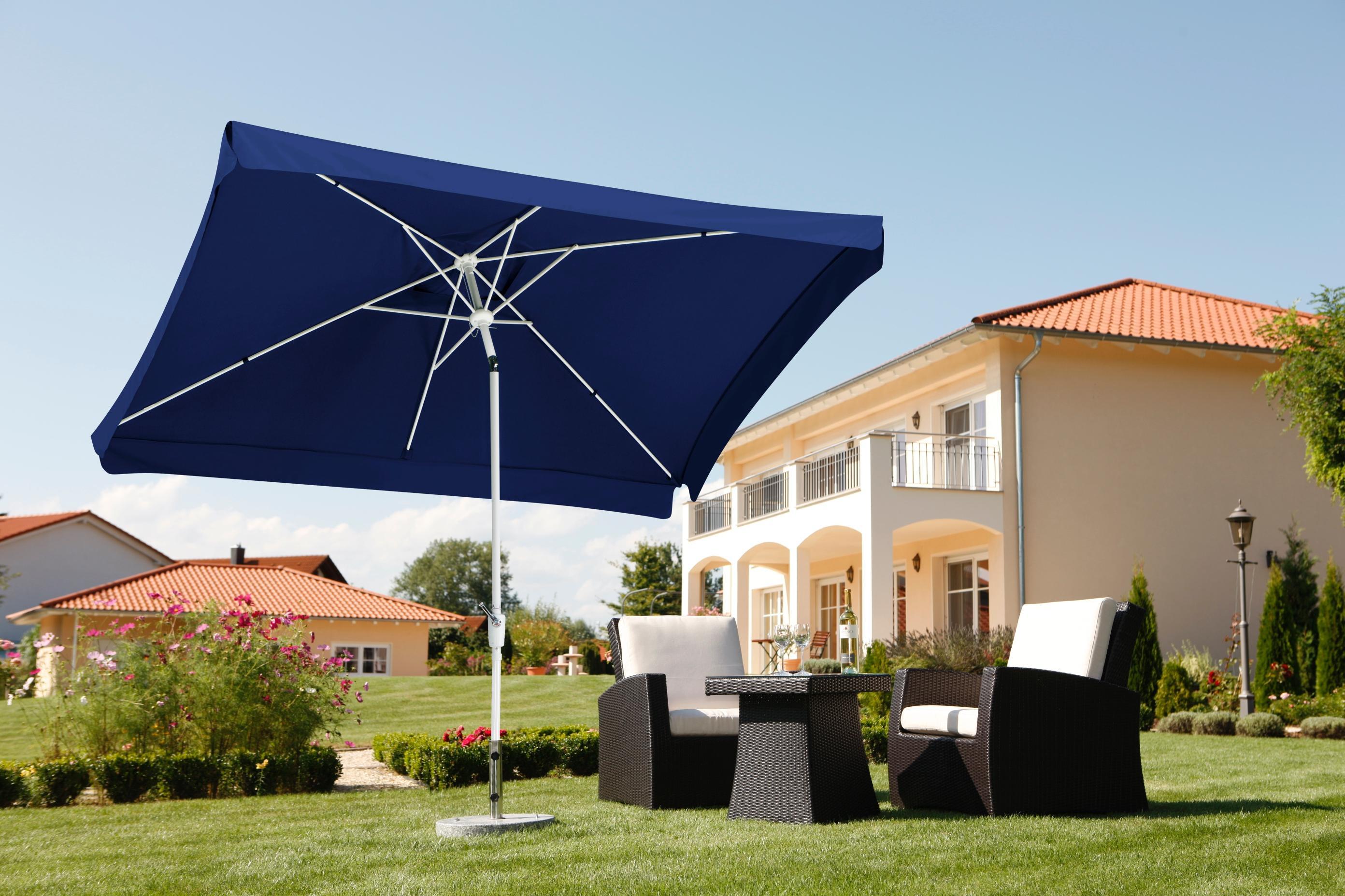 schneider sonnenschirm oslo blau 300x200 cm rechteckig gestell aluminium stahl. Black Bedroom Furniture Sets. Home Design Ideas