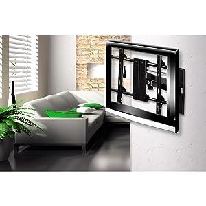 Platzsparende Aufbewahrung für den Fernseher mit der TV-Wandhalterung Fullmotion