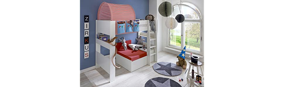 steens f r kinder halbhochbett inkl lattenrost teilbar. Black Bedroom Furniture Sets. Home Design Ideas