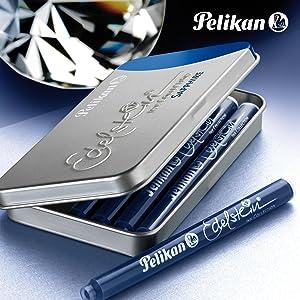 Pelikan 339689 Gtp 6 Tintenpatronen Edelstein Ink Im Metalletui Tanzanite Blau Schwarz Bürobedarf Schreibwaren