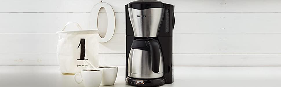 philips hd7546 20 gaia filter kaffeemaschine mit thermo kanne schwarz metall 8710103535034 ebay. Black Bedroom Furniture Sets. Home Design Ideas
