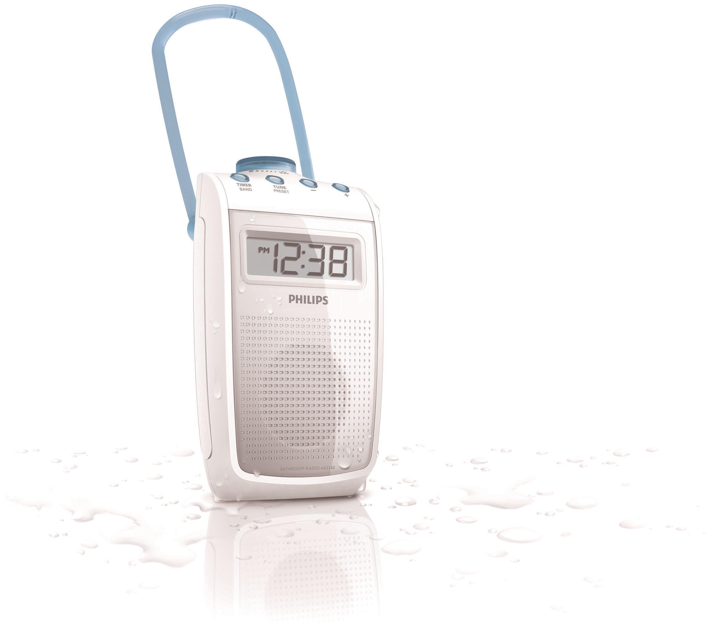 Philips AE9 Tragbares Duschradio (UKW-/MW-Tuner, LC-Display) weiß