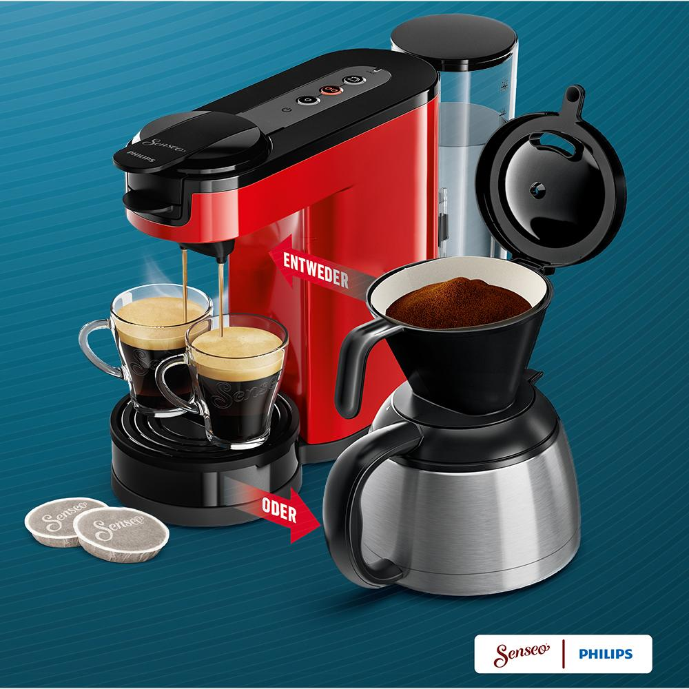 senseo hd7892 80 switch 2 in 1 kaffeemaschine f r filter rot. Black Bedroom Furniture Sets. Home Design Ideas