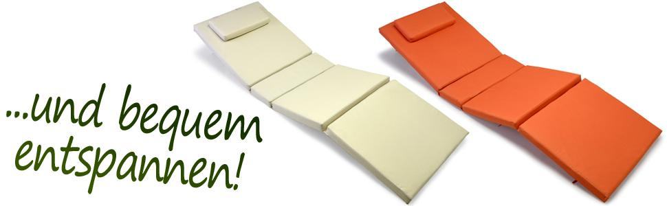 nexos hochwertige liegen auflage sitz polster mit kopfkissen f r sonnenliegen sauna garten. Black Bedroom Furniture Sets. Home Design Ideas