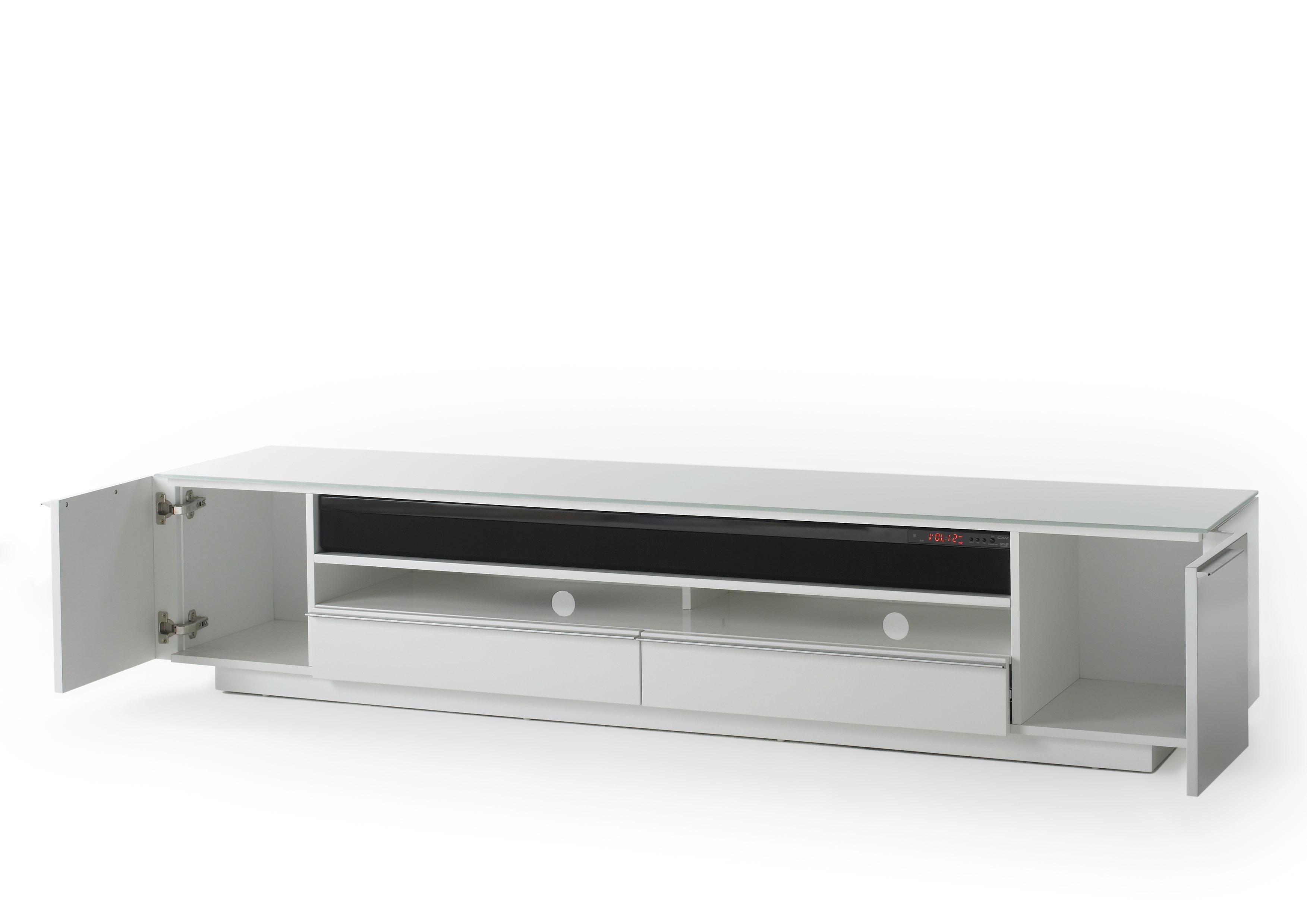 robas lund lowboard fernsehtisch tv schrank canberra hochglanz wei mit soundsystem 196 x. Black Bedroom Furniture Sets. Home Design Ideas