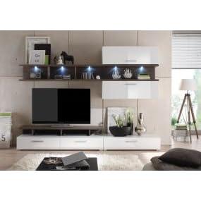trendteam la94711 wohnzimmerschrank wohnwand anbauwand weiss hochglanz absetzungen avola grau. Black Bedroom Furniture Sets. Home Design Ideas