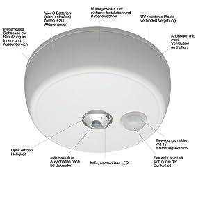 mr beams batteriebetriebene led deckenleuchte mit bewegungssensor f r den innen au enbereich. Black Bedroom Furniture Sets. Home Design Ideas