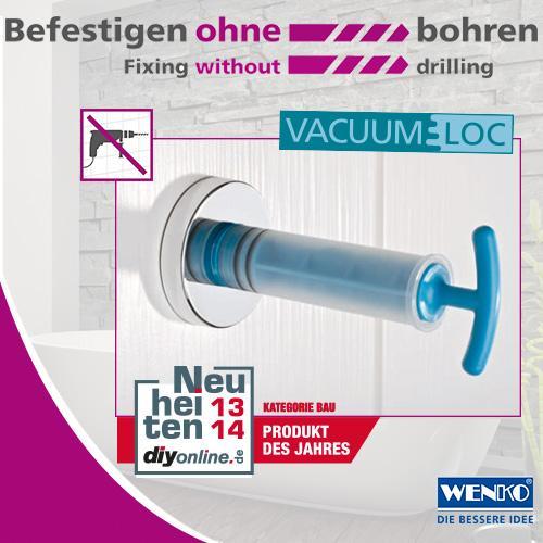 Wenko 20889100 Vacuum Loc, Wandregal 2 Etagen Bari, Befestigen