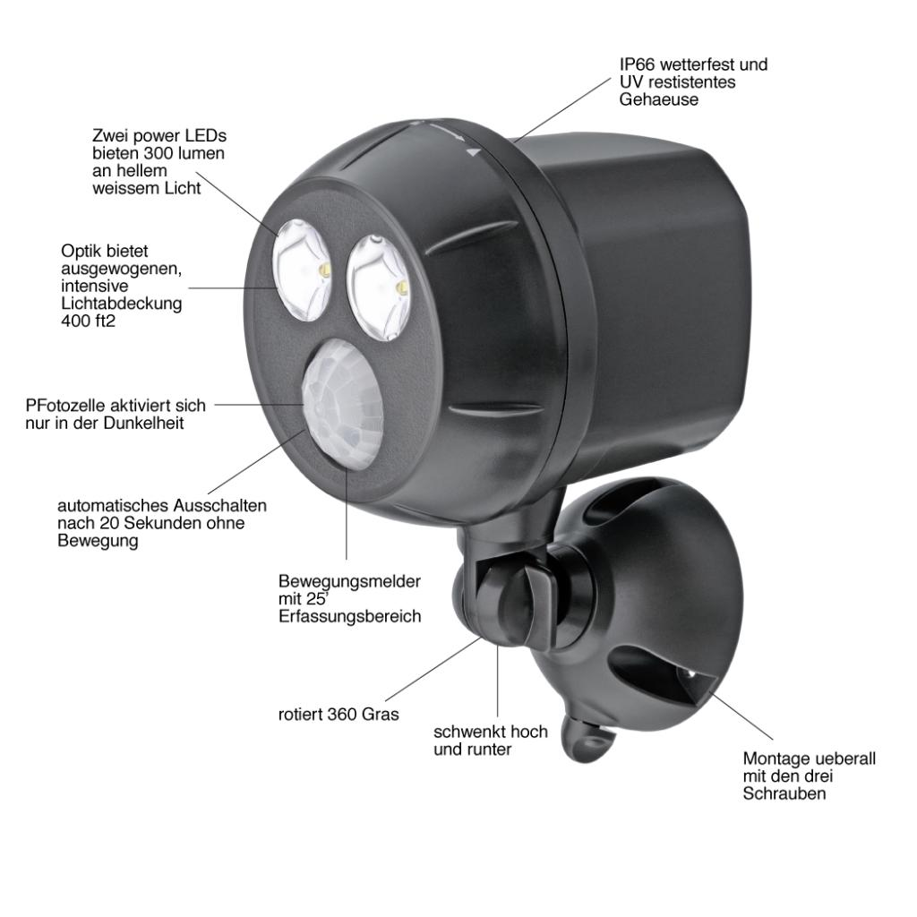 mr beams drahtloser batteriebetriebener heller led spot mit bewegungssensor f r den innen. Black Bedroom Furniture Sets. Home Design Ideas