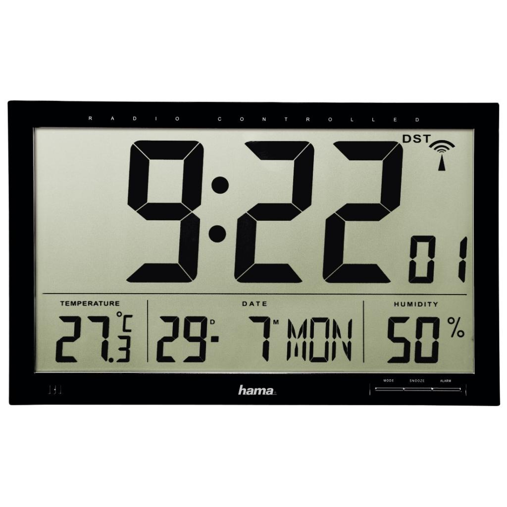 hama funk wanduhr jumbo mit lcd display wecker thermometer hygrometer und kalender. Black Bedroom Furniture Sets. Home Design Ideas