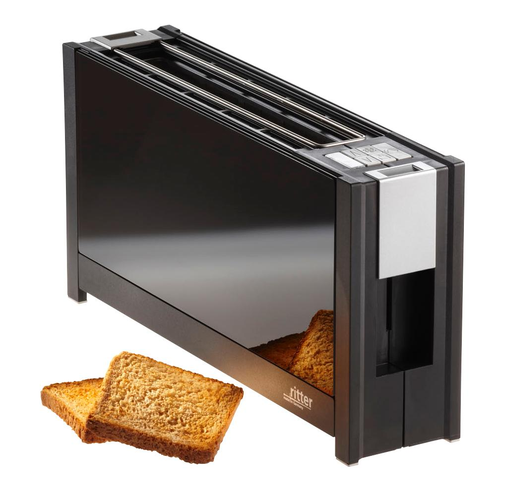 ritter toaster volcano 5 mit eleganten glasfronten in schwarz. Black Bedroom Furniture Sets. Home Design Ideas