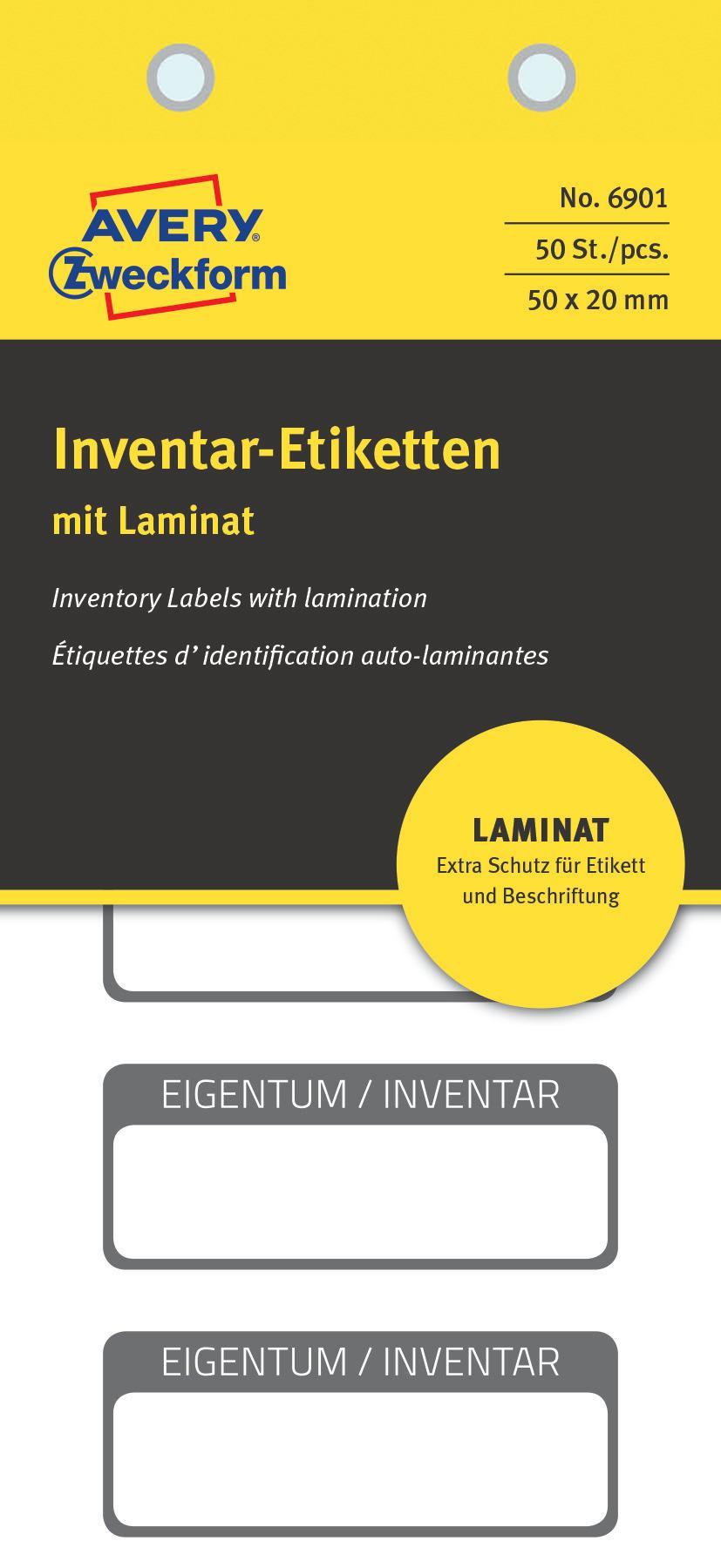 AVERY Zweckform 6903 laminierte Inventaretiketten extrem stark selbstklebend, Kleinformat, 60x30 mm, 40 Aufkleber auf 10 Blatt wei/ß//schwarz