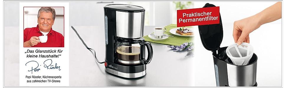 tv unser original 05295 coffeemaxx single kaffeemaschine mit edelstahl design. Black Bedroom Furniture Sets. Home Design Ideas
