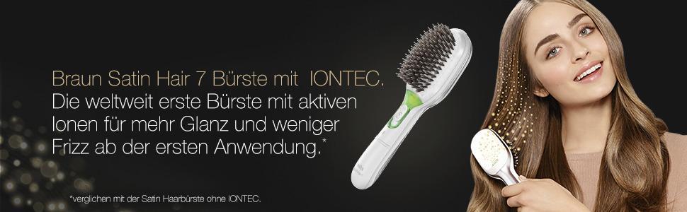 Braun BR 750 Satin Hair 7 Elektrische Haarbürste mit Naturborsten, weiss