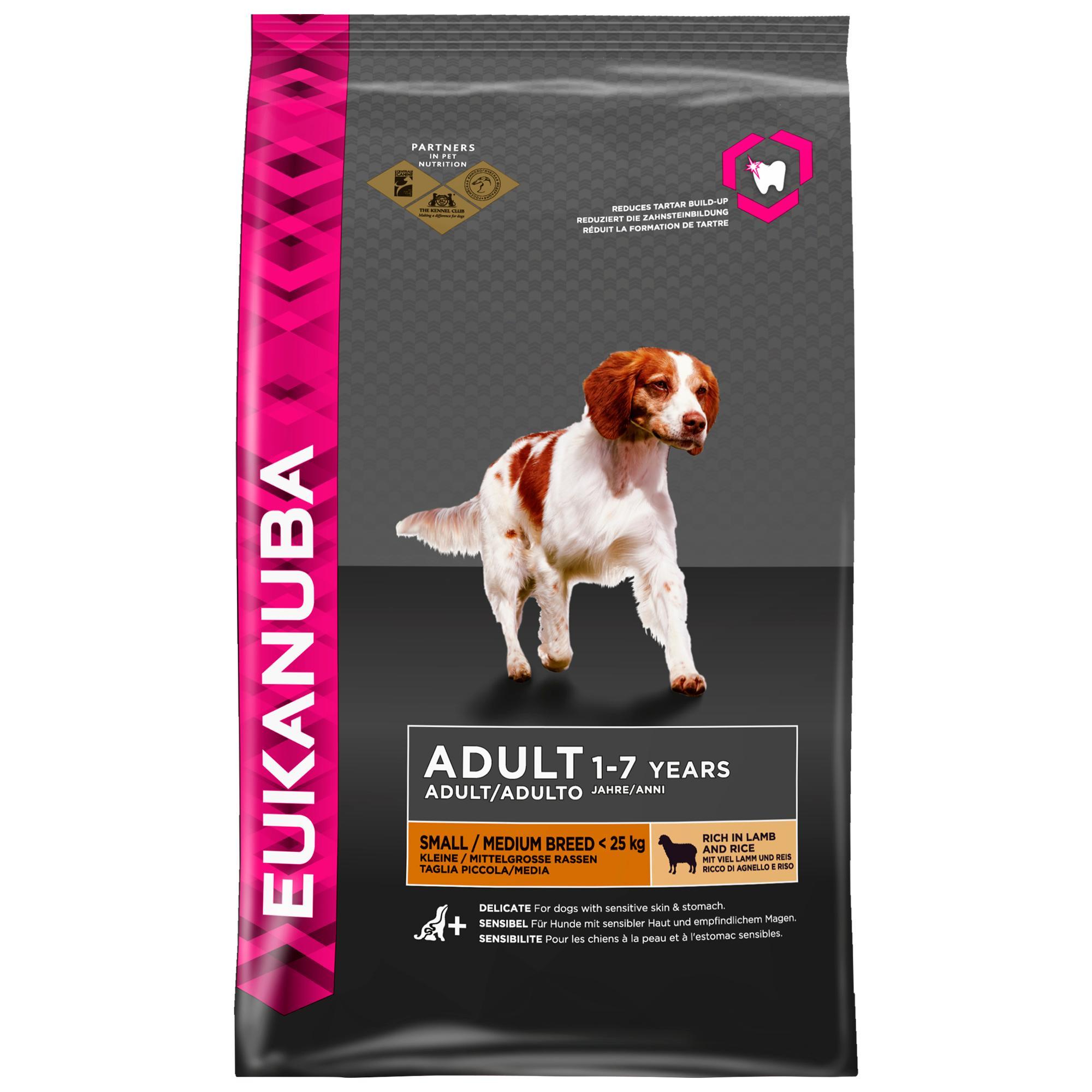 eukanuba premium hundefutter mit lamm reis trockenfutter f r sensible hunde kleiner und. Black Bedroom Furniture Sets. Home Design Ideas