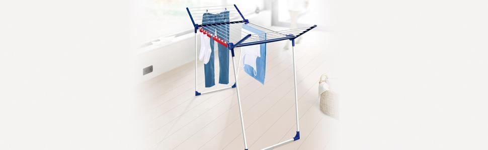 leifheit standtrockner pegasus 180 solid w schest nder mit fl geln f r lange kleidungsst cke. Black Bedroom Furniture Sets. Home Design Ideas