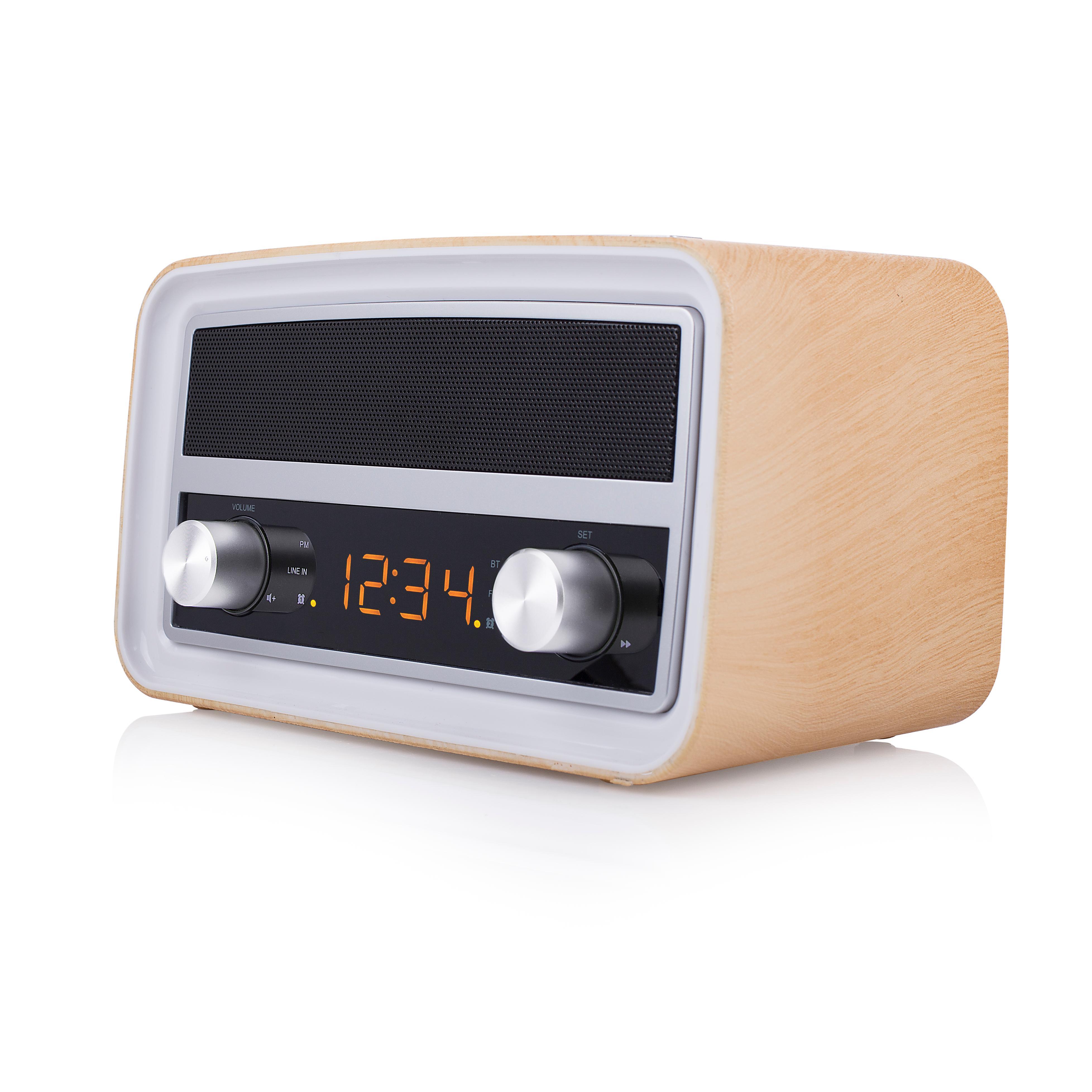 audiosonic retro radio mit uhr und weckerfunktion aux. Black Bedroom Furniture Sets. Home Design Ideas