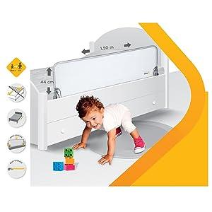 safety 1st 24530010 xl bettgitter 150 cm l nge grau baby. Black Bedroom Furniture Sets. Home Design Ideas