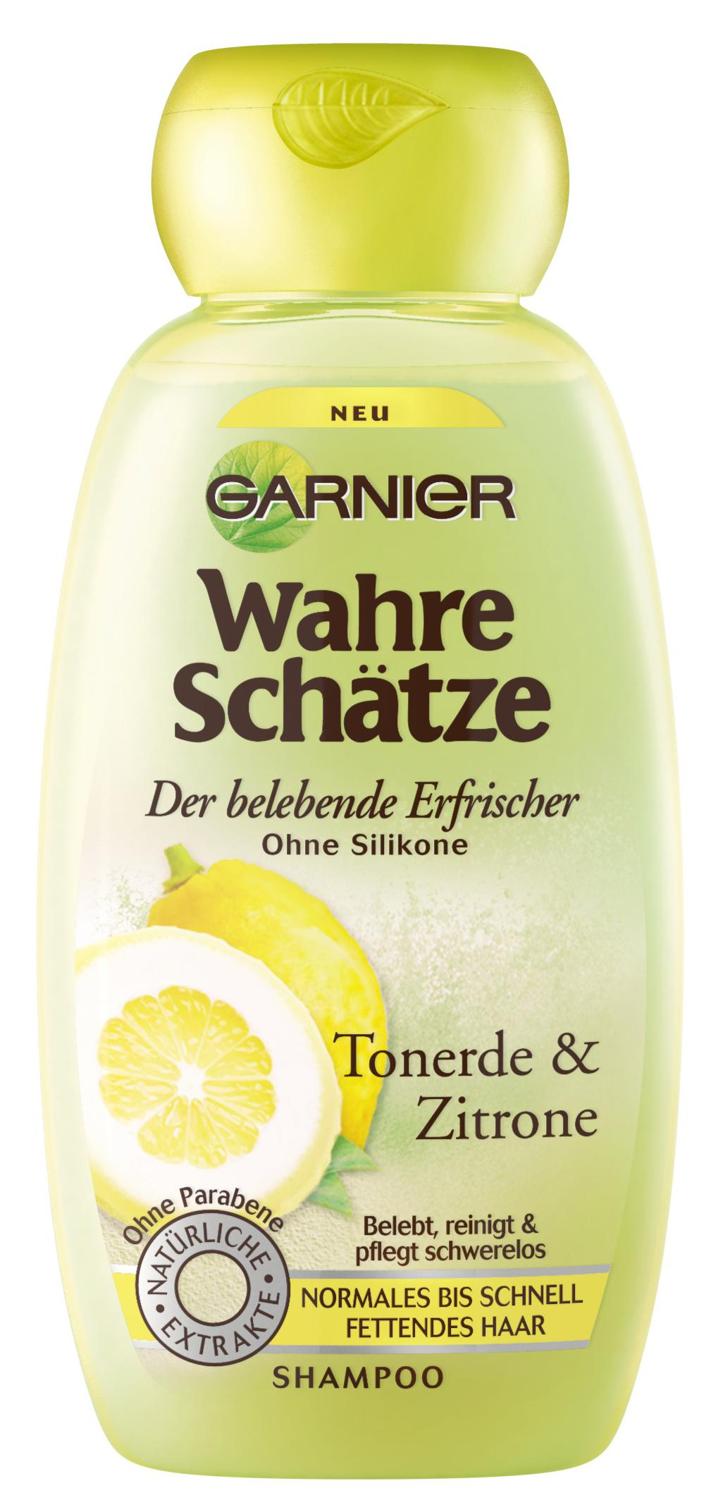 garnier wahre sch tze shampoo intensive haarpflege bis in die spitzen mit tonerde zitrone. Black Bedroom Furniture Sets. Home Design Ideas
