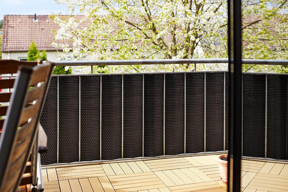 gartenfreude polyrattan sichtschutz balkon matte oder zaun 3 x 0 9 m zuschneidbar. Black Bedroom Furniture Sets. Home Design Ideas