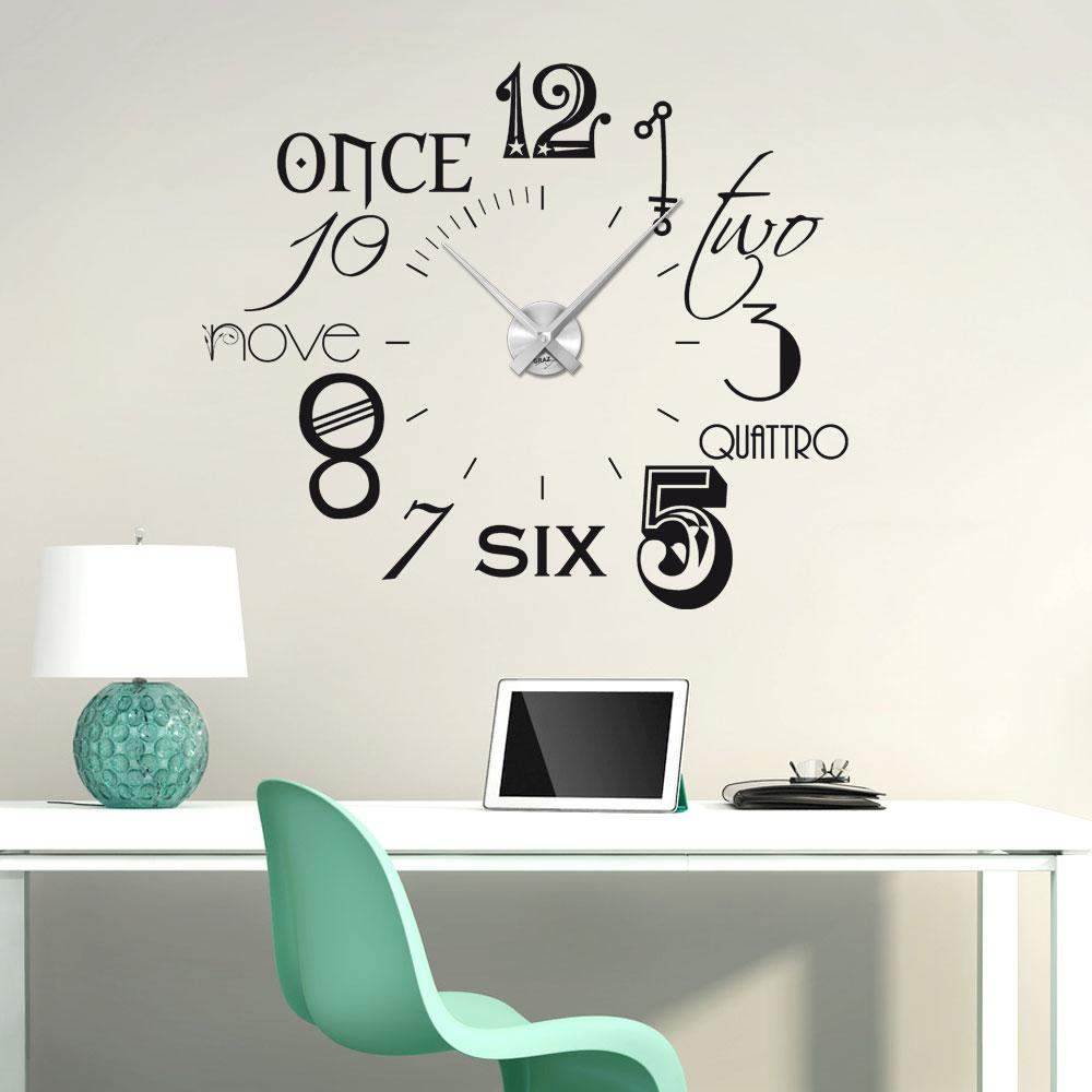 wandtattoo uhr mit modernem design mit. Black Bedroom Furniture Sets. Home Design Ideas