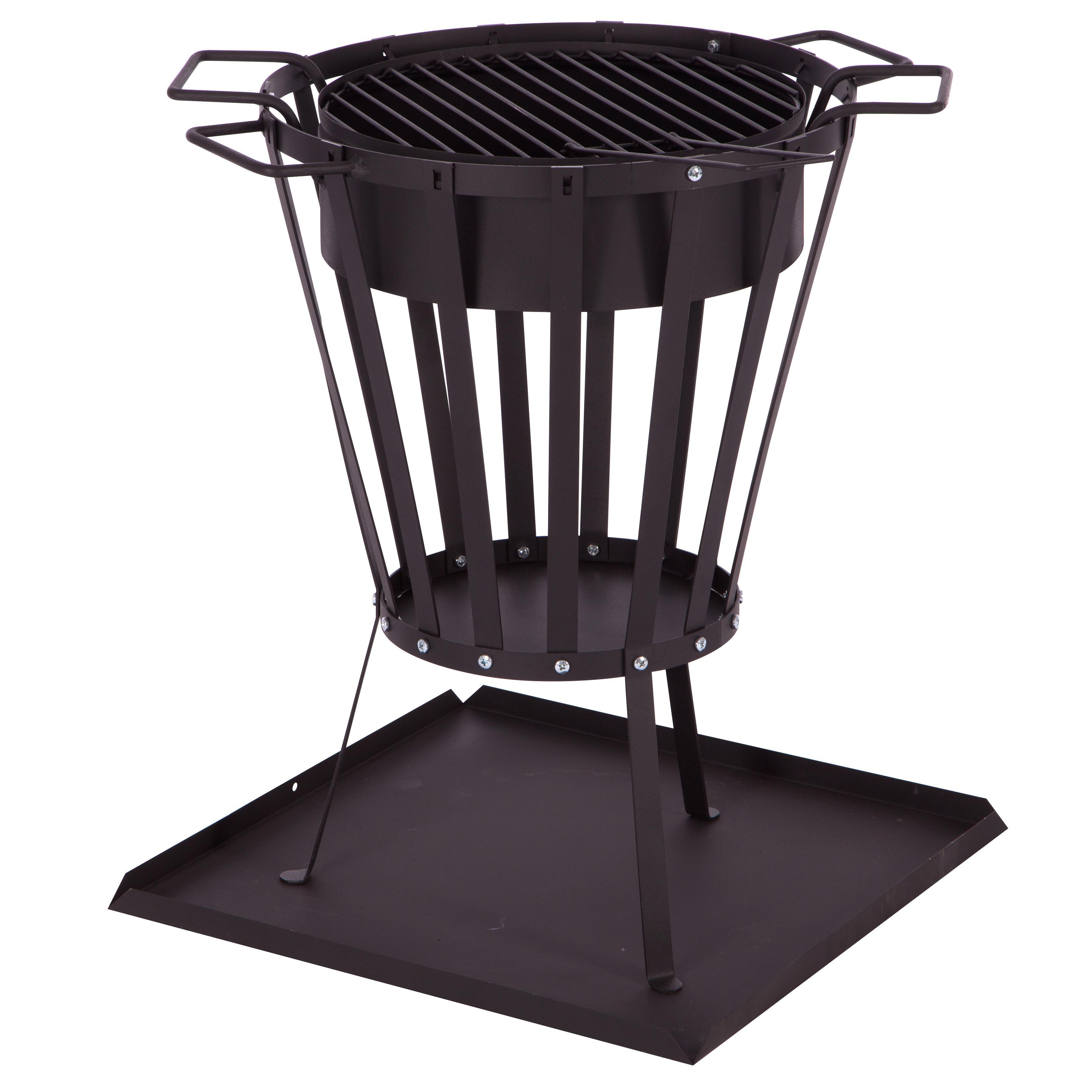 ultranatura feuerkorb vulcano aufbau set inkl ascheschale mit grilleinsatz 32 x 32 x 10 cm. Black Bedroom Furniture Sets. Home Design Ideas