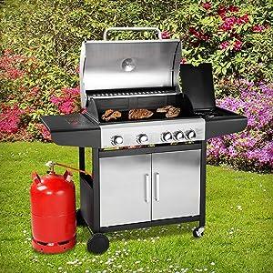 bruzzzler edelstahl 4 1 gasgrill grillstation mit 4 brenner einheiten und 1 seitenkocher. Black Bedroom Furniture Sets. Home Design Ideas