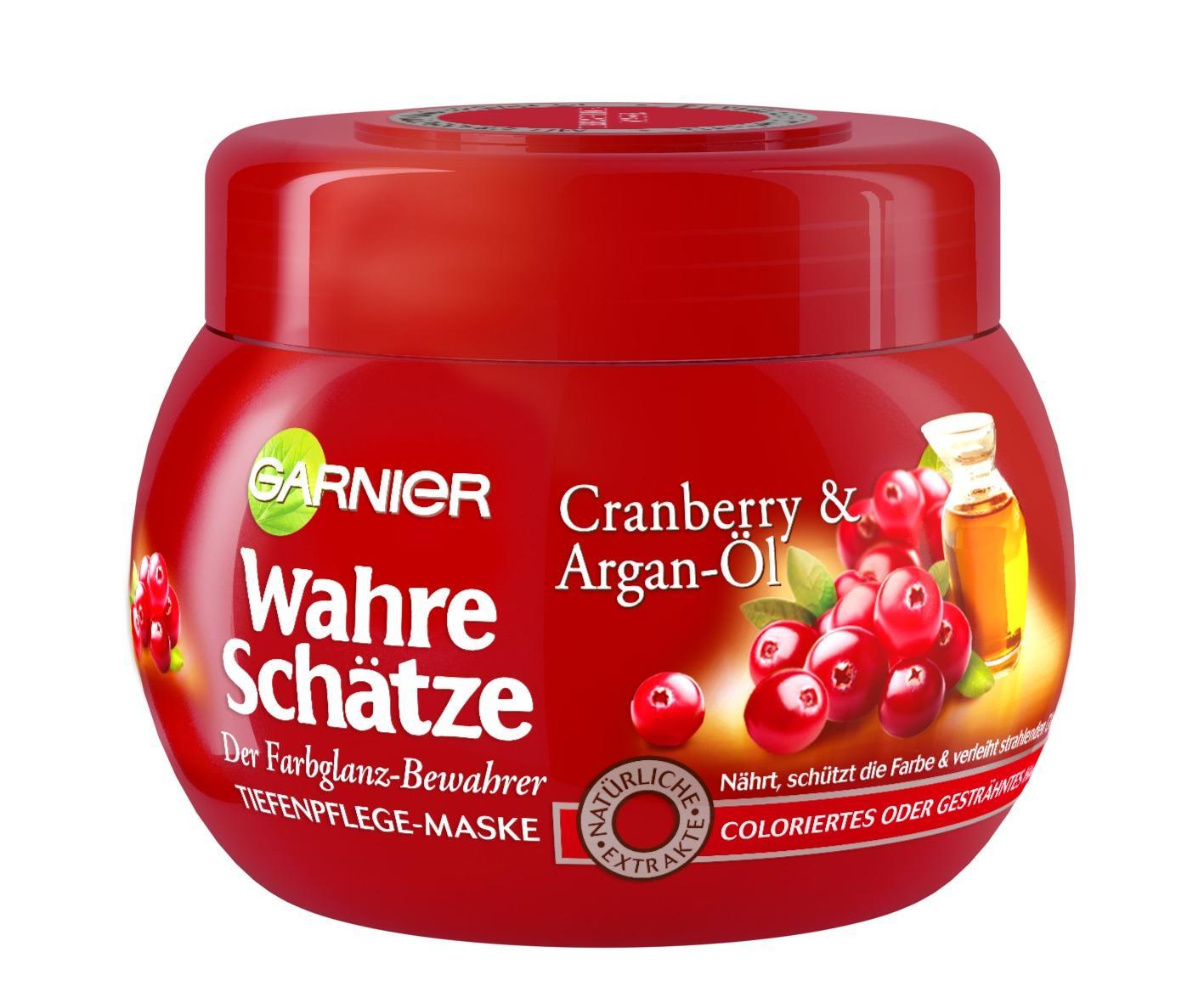 garnier wahre schà tze haar maske mit argan à l cranberry extrakt