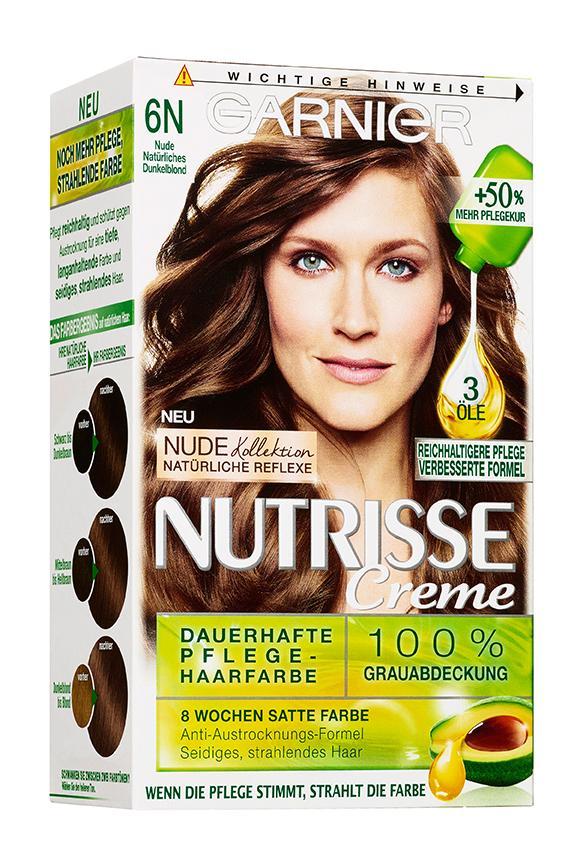 Garnier Nutrisse Creme Coloration Nude Natu00fcrliches Dunkelblond 6N Fu00e4rbung fu00fcr Haare fu00fcr ...
