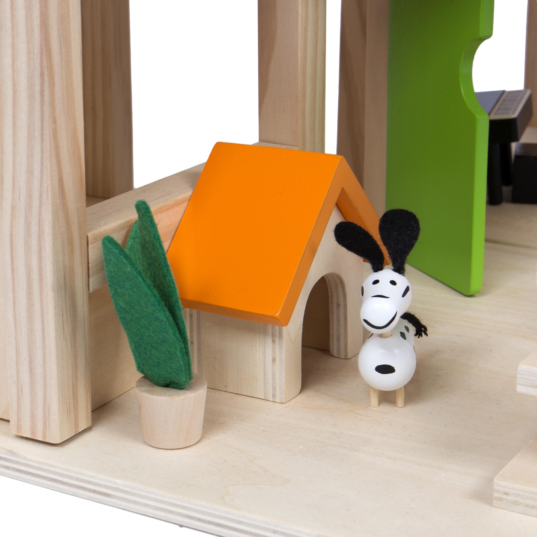 kledio kinder holzpuppenhaus f r m dchen und jungen ab 3 jahren spielzeug puppenhaus aus holz. Black Bedroom Furniture Sets. Home Design Ideas